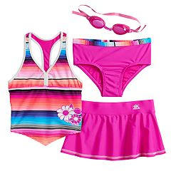 Girls 4-6x ZeroXposur Sunrise Tankini Top, Bottoms & Skirt Swimsuit Set with Goggles