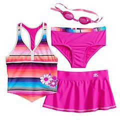 14252425256f4 Girls 4-6x ZeroXposur Sunrise Tankini Top, Bottoms & Skirt Swimsuit Set  with Goggles