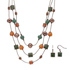 Beaded Multistrand Necklace & Drop Earring Set