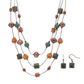 Beaded Multistrand Necklace & Drop Earring Set