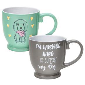 Belle Maison Working Hard to Support My Dog Mug Set
