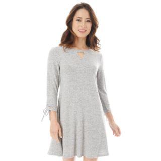 Juniors' IZ Byer Ruched Cutout Sweaterdress