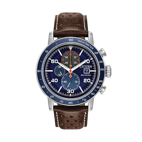 Citizen Eco-Drive Men's Brycen Leather Chronograph Watch - CA0648-09L