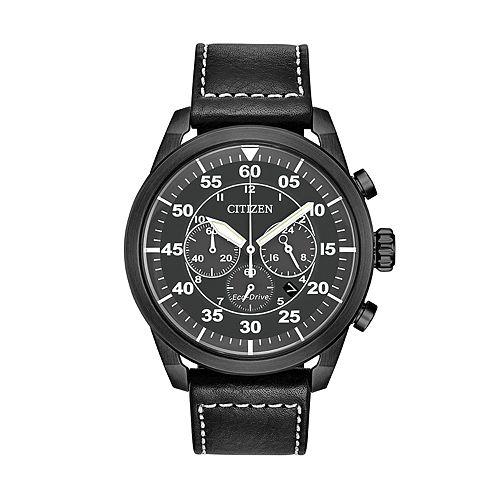 Citizen Eco-Drive Men's Avion Leather Chronograph Watch - CA4215-21H
