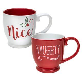 Belle Maison Holiday Naughty / Nice Mug Set