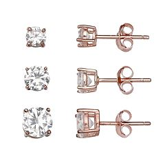 PRIMROSE 18k Rose Gold Over Silver 3-Pair Cubic Zirconia Stud Earring Set