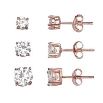 PRIMROSE 14k Rose Gold Over Silver 3-Pair Cubic Zirconia Stud Earring Set