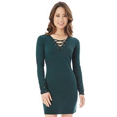 Juniors' IZ Byer Lace-Up Sweaterdress