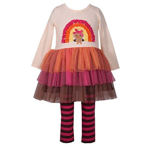 b89edcbf33718 Toddler Girl Bonnie Jean Turkey Dress & Striped Leggings Set