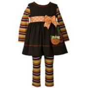 Toddler Girl Bonnie Jean Pumpkin Dress & Striped Leggings Set