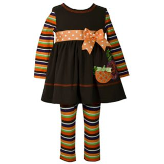 Toddler Girl Bonnie Jean Pumpkin Dress & Striped Leggings Set