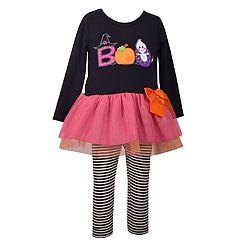 Toddler Girl Bonnie Jean 'Boo' Halloween Dress & Striped Leggings Set
