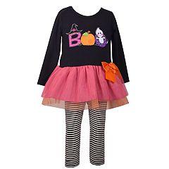 bfccb087d79 Toddler Girl Bonnie Jean  Boo  Halloween Dress   Striped Leggings Set