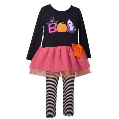 "Toddler Girl Bonnie Jean ""Boo"" Halloween Dress & Striped Leggings Set"