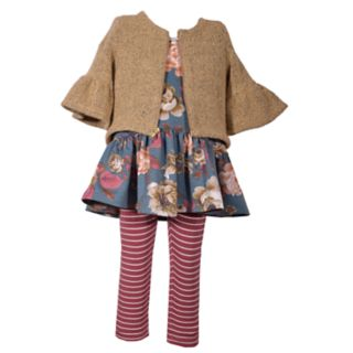 Toddler Girl Bonnie Jean Floral Dress, Striped Leggings & Sweater Set