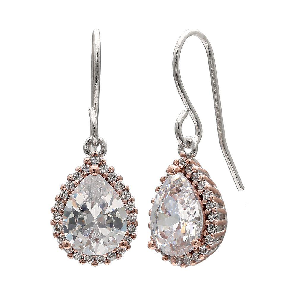PRIMROSE Two Tone Sterling Silver Cubic Zirconia Teardrop Earrings