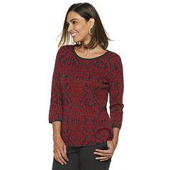Petite Dana Buchman Scroll Jacquard Crewneck Sweater