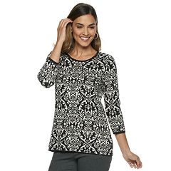 Petite Dana Buchman Scroll Jacquard Crewneck Sweater