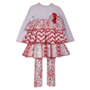 Toddler Girl Bonnie Jean Tiered Dress & Print Leggings Set
