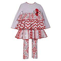 Toddler Girl Bonnie Jean Tiered Dress & Print Leggings Set