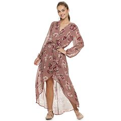 Juniors' Lily Rose Surplice Long Sleeve Maxi Dress