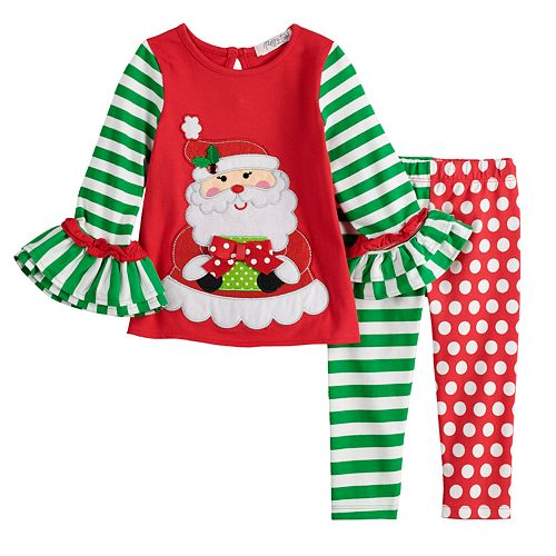 toddler girl rare editions embroidered santa top print leggings set