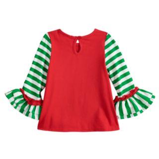 Toddler Girl Rare Editions Embroidered Santa Top & Print Leggings Set
