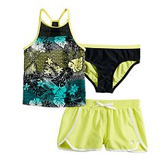 Girls 7-16 ZeroXposur Tropical Wave Tankini Top, Bottoms & Shorts Swimsuit Set