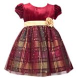Toddler Girl Bonnie Jean Velvet Plaid Dress