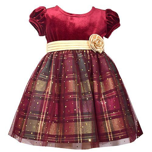 Toddler Girl Bonnie Jean Velvet Plaid Dress