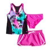 Girls 7-16 ZeroXposur Summer Storm Tankini Top, Bottoms & Shorts Swimsuit Set
