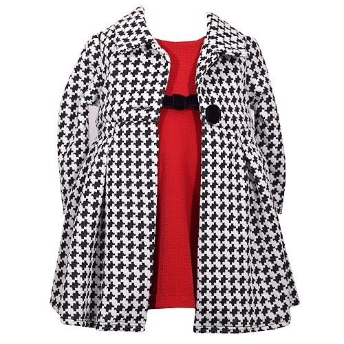 bb4ca25ecf1a Toddler Girl Bonnie Jean Textured Dress   Houndstooth Coat Set