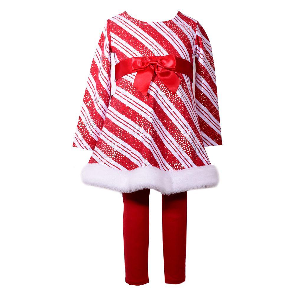 Toddler Girl Bonnie Jean Striped Foiled Dress & Leggings Set