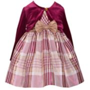 Toddler Girl Bonnie Jean Plaid Taffeta Dress & Velvet Bolero Set