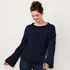 Women's LC Lauren Conrad Chenille Trumpet-Sleeve Sweater