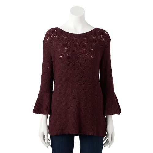 Women's LC Lauren Conrad Pointelle Bell-Sleeve Sweater