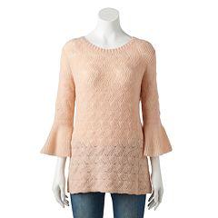 Women's LC Lauren Conrad Pointelle Bell-Sleeve Sweater