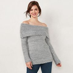 Women's LC Lauren Conrad Off-the-Shoulder Chenille Sweater