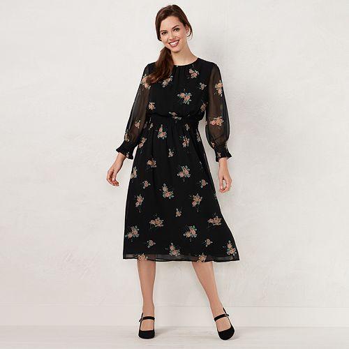 Womens Lc Lauren Conrad Floral Smocked Midi Dress
