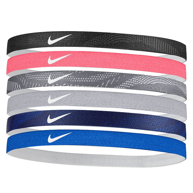 Nike 6-Pack Solid Headband Set, Women's, Beige Over With six vibrant colors to choose from, this women's Nike headband set makes it easy to coordinate your sporty look. 6-pack Textured, elastic non-slip grips for a secure fit Swoosh logo 0.5 in. width (each) Fabric & Care Polyester, rubber, silicone Machine wash Imported Size: One Size. Color: Beige Over. Gender: Female. Age Group: Adult. Pattern: Solid. Material: Plastic /.