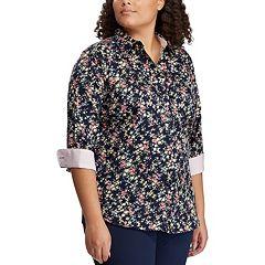 6c57d28f2f0 Plus Size Chaps Floral No-Iron Shirt