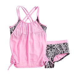 Girls 7-16 ZeroXposur Carousel Caper Tankini Overlay Top & Bottoms Swimsuit Set