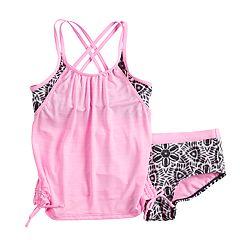 Girls 7-16 ZeroXposur Carousel Caper Tankini Overlay Top & Bottoms Swimsuit Set