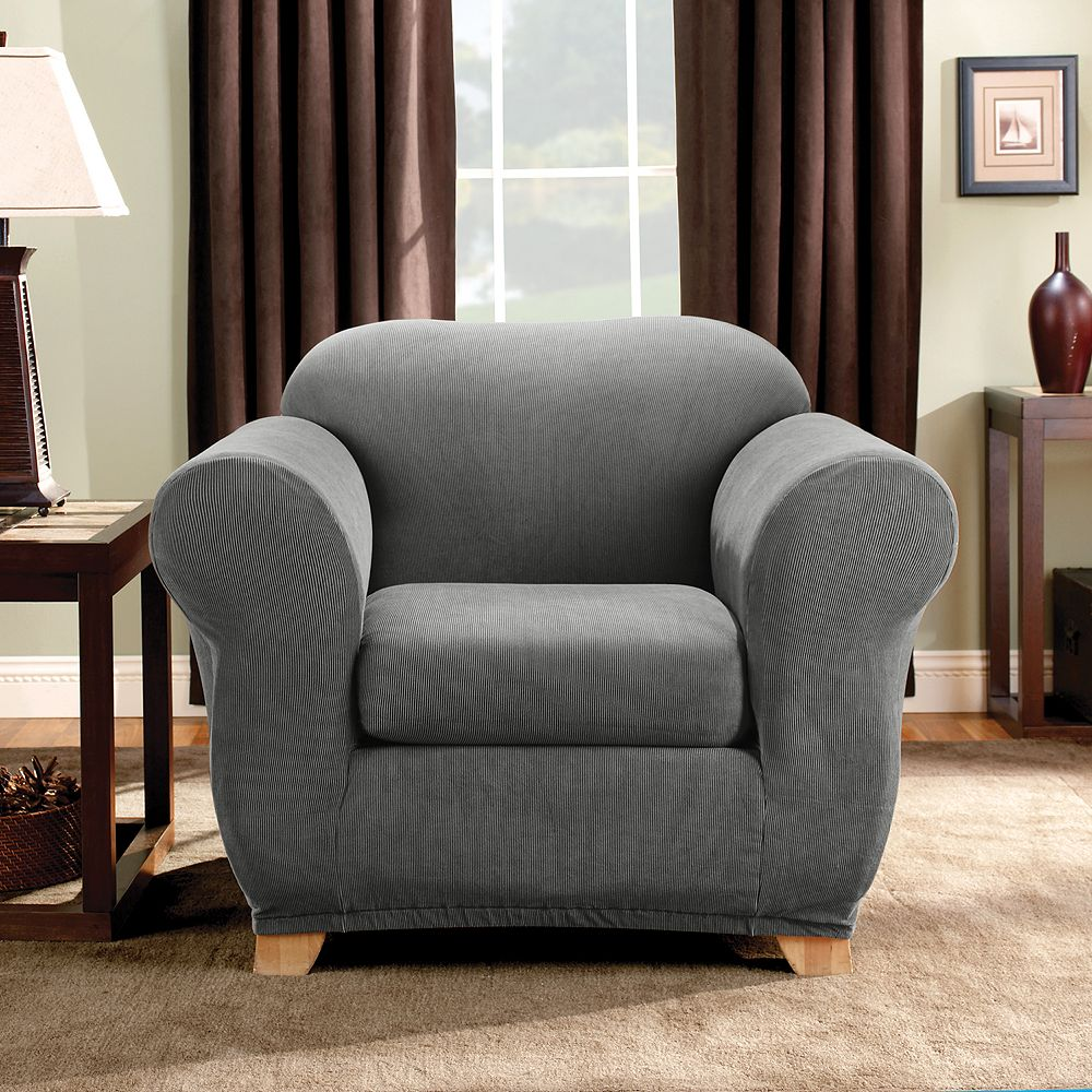 Sure Fit Stretch Madison Stripe 2-piece Chair Slipcover