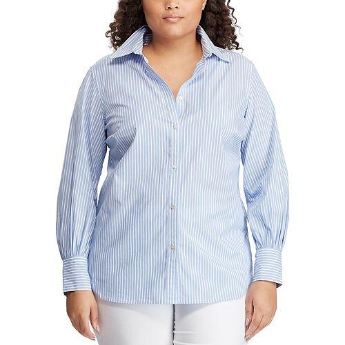 Plus Size Chaps Cotton Bishop-Sleeve Shirt