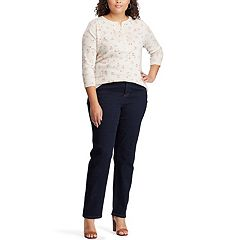 Plus Size Chaps Waffle-Knit Henley Tee