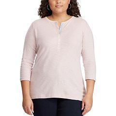 Plus Size Chaps Solid Henley Tee