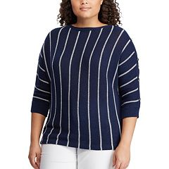 aae6d6c9a5246 Plus Size Chaps Striped Linen Blend Boatneck Sweater