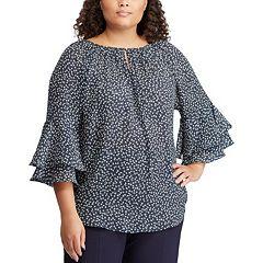 46545b970e4b9 Plus Size Chaps Printed Ruffle Sleeve Blouse