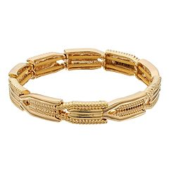Napier Gold Tone Textured Stretch Bracelet